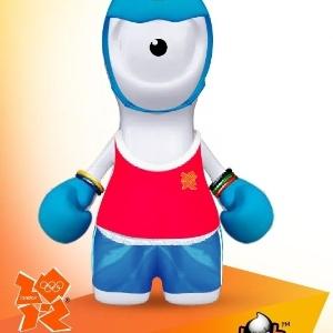 Mascote Wenlock praticando boxe.
