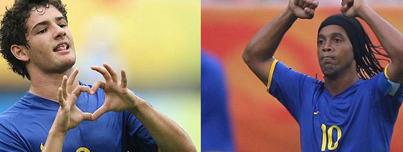 Alexandre Pato e Ronaldinho Gaúcho somam 147 kg