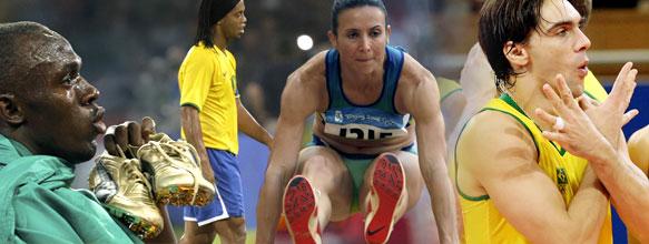 Bolt (esq.) busca novo ouro e recorde, enquanto vôlei e Maurren lutam por pódio