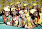 Seleção de vôlei celebra ouro em SP