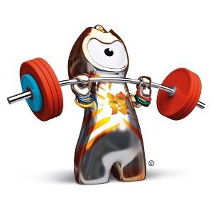 Mascote Wenlock pratica levantamento de peso