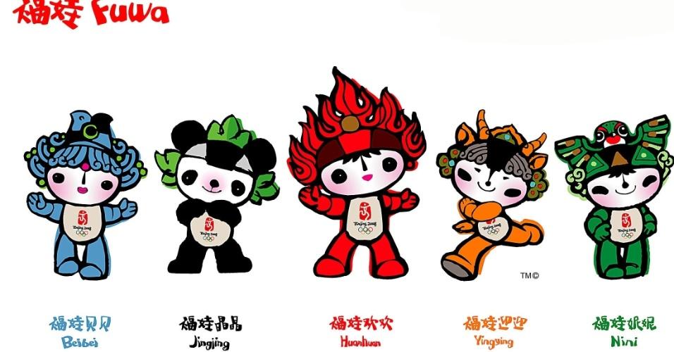 Os Jogos de Pequim tinham cinco mascotes. As Fuwa, como são chamadas, tinham as cores dos cinco anéis olímpicos e levavam uma mensagem de paz, amizade e boa sorte para todas as crianças do mundo.