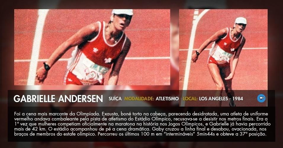 A suíça Gabrielle Andersen-Scheiss chega, exausta, ao fim da maratona da Olimpíada de Los Angeles