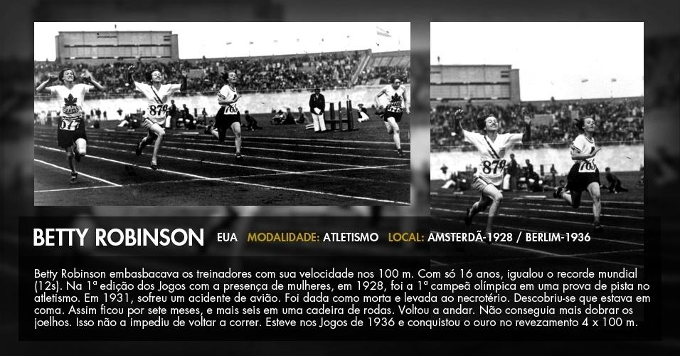 """Elizabeth """"Betty"""" Robinson vence os 100 m na Olimpíada de 1928; ela também ganhou um ouro em Berlim-1936"""