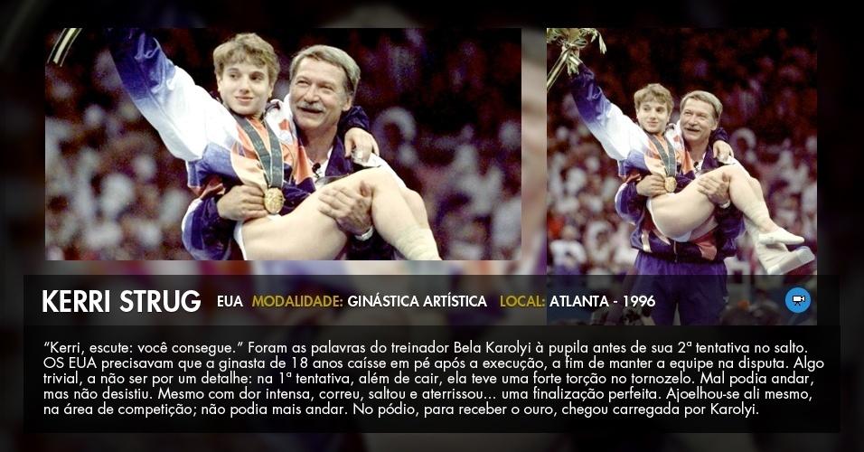 Heroína dos EUA em Atlanta-1996 ao saltar machucada, a ginasta Kerri Strug é carregada pelo técnico Bela Karolyi