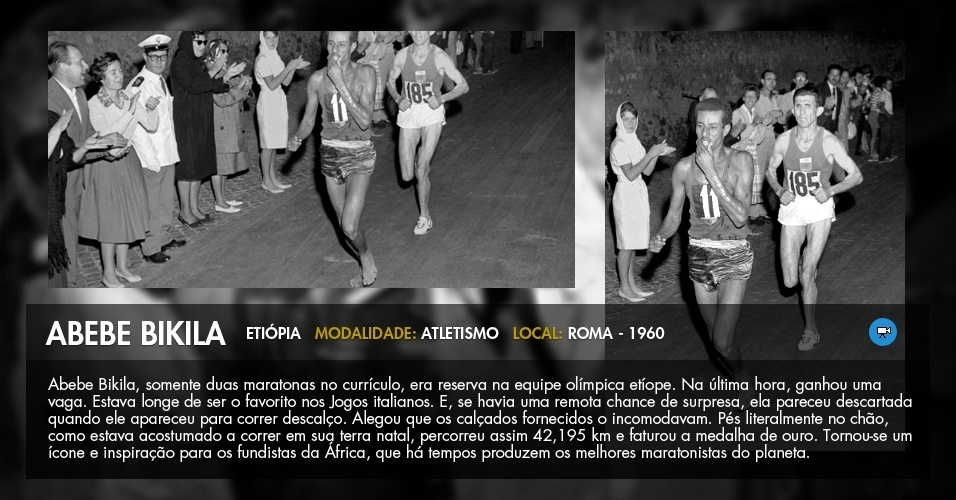 O etíope Abebe Bikila corre descalço pelas ruas de Roma rumo à vitória na maratona olímpica de 1960