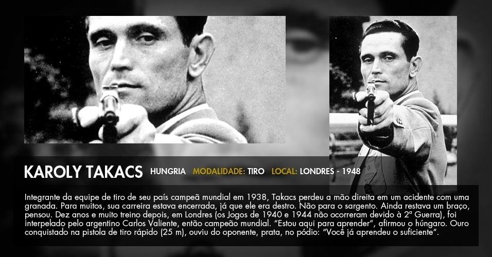O húngaro Karoly Takacs, que perdeu a mão direita em um acidente, compete com a esquerda nos Jogos de Londres-1948