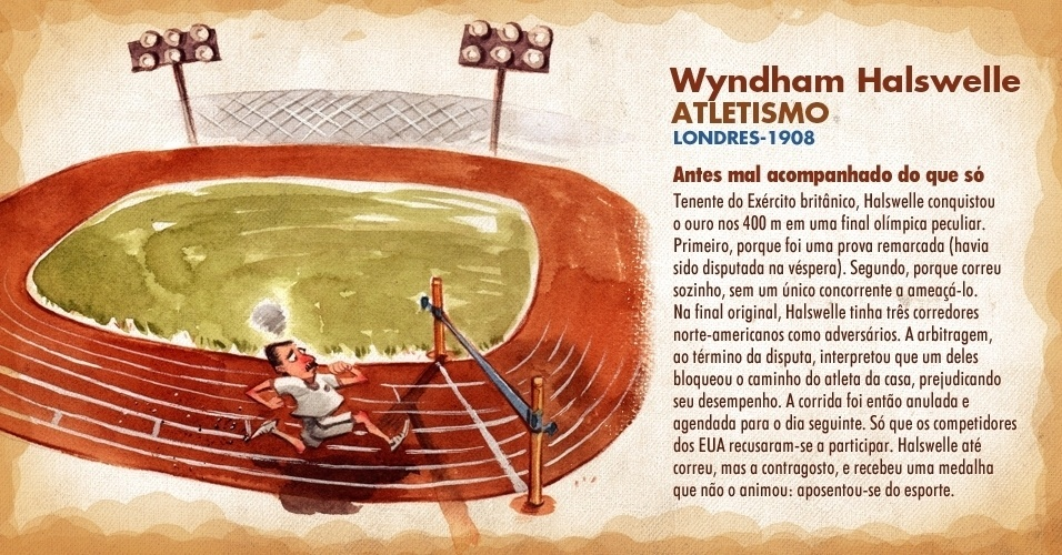 O britânico Wyndham Halswelle foi ouro nos 400 m na Olimpíada de Londres-1908