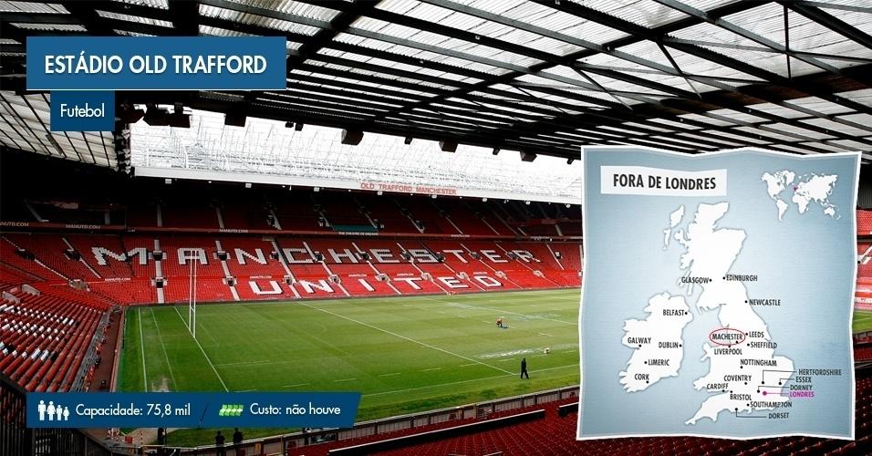 O estádio Old Trafford, em Manchester