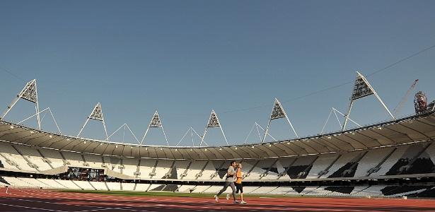 O Estádio Olímpico de Londres, principal palco dos Jogos de Londres, que começam em 27 de julho